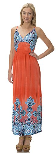 (75890R) Classic Designs Womens Empire Waist Silky Stretch ITY Maxi Dress / Cover Up in Bright, 3X