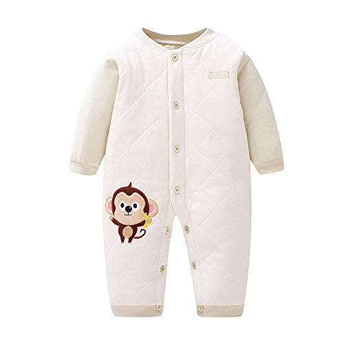 ThreeH Unisex Baby Newborn Coverall Long Sleeve Cotton Jumpsuit BR117,Green