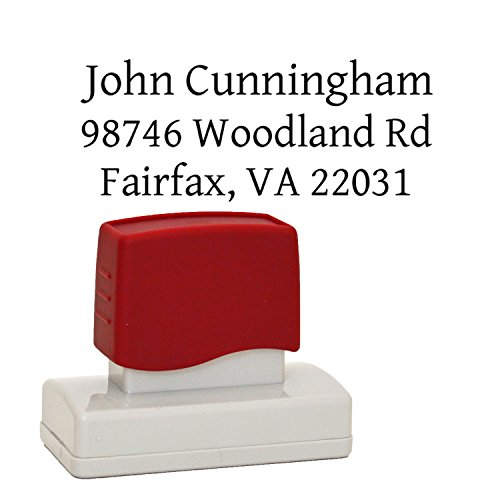 Pre Inked Address Stamp (Traditional Personalized pre-inked Rubber Stamp, Business Stamp or even Wedding Stamper, Customized with Your names and Return Address, Stamper with Premium Ink)