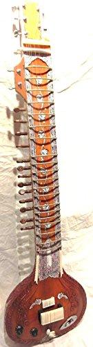 INDIAN HANDMADE ~ ELECTRIC SITAR SHRI RAVI SHANKAR STYLE DESIGNER TUN WOOD FREE STRING & MIZRAB by IM