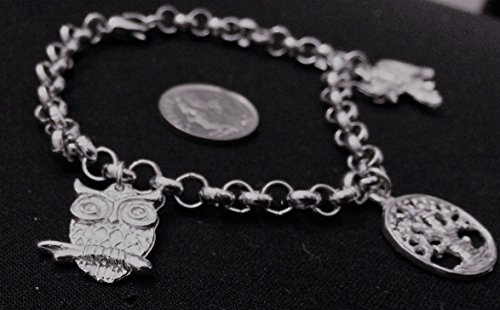 Nature Theme Starter Charm Bracelet with 3 hand cast pewter charms, including the Owl, Elephant, and Tree of Life Charms with a Non-Hand Made 8
