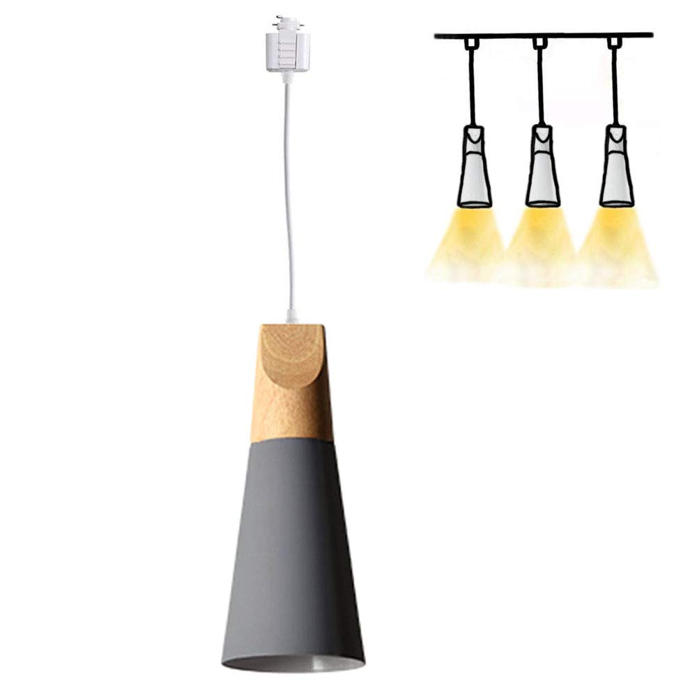 H-Type Track Mount Light Modern Wood Pendant Lights Kitchen Lighting Scandinavian Light Fixture Home Lighting,1-Light(Grey)