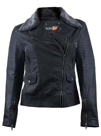 FE Black Motorcycle Leather Jacket Womens w Silver Fur