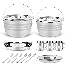 Odoland 15pcs Camping Cookware Mess Kit, Stainless Steel Camping Cooking Pots Pan with Plates Cups Forks and Spoons…