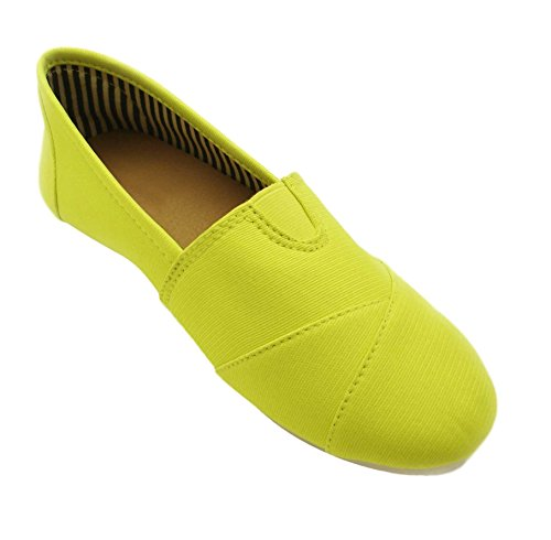Sarah Most Popular Neon Lime Green Beach Kung Fu Supplies Fashion Foam Round Toe Slip On Sofft Camping Laceless Gear Tenis Sneakers Summer Canvas Flat Shoes For Sale Women Teen Girl (Size 8, Lime)