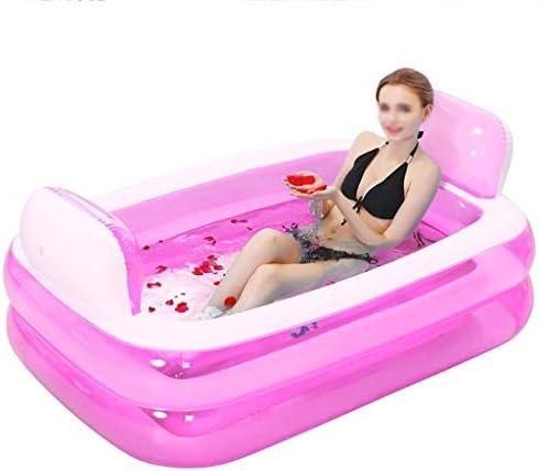 インフレータブルバスタブ、プラスチック製ポータブル折り畳み式のバスタブ、大人用電動エアーポンプ付きバスタブ、ホームSPA入浴、装備を浸します (色 : ピンク)