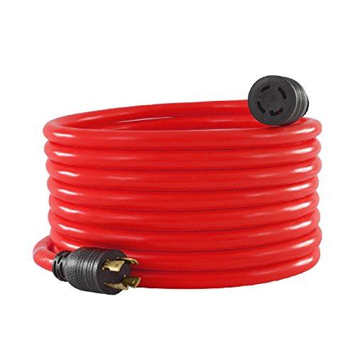 KUPPET Generator Extension Cord Nema L14-30 20FT Outdoor Extension Cord, Generator Power Extension Wire- 30 Amp, 4 prong, 125/250V, ETL approval, Red & Black -
