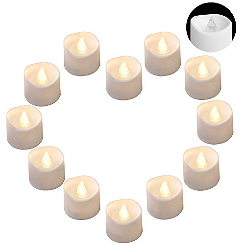 DRomance LED Flamelss Votive Tealight Candles Battery Operated, Set of 12 Plastic Warm Light Flickering Outdoor Candles Christmas Home Decoration(White, 1.4