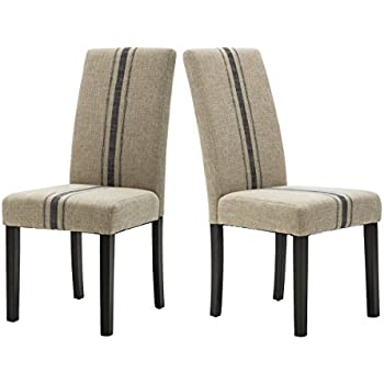 Beige Accent Chairs With Blue Stripes.Amazon Com Modern Upholstered Stripe Dining Chair Retro Formal
