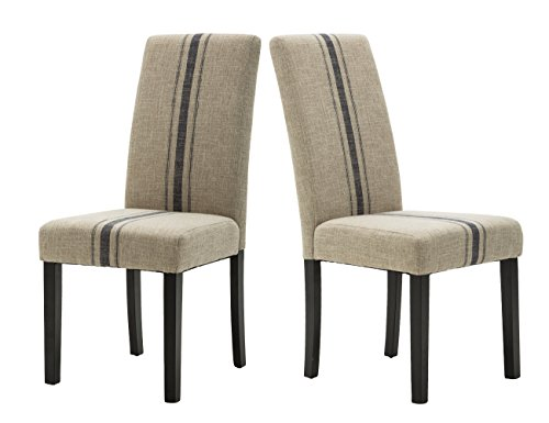 - Modern Upholstered Stripe Dining Chair, Retro Formal Elegant Dining Chairs with Navy Blue Stripe Pattern, Set of 2, Accent Chairs for Dining Room/Living Room/Bedroom/ Kitchen/Patio (Beige)