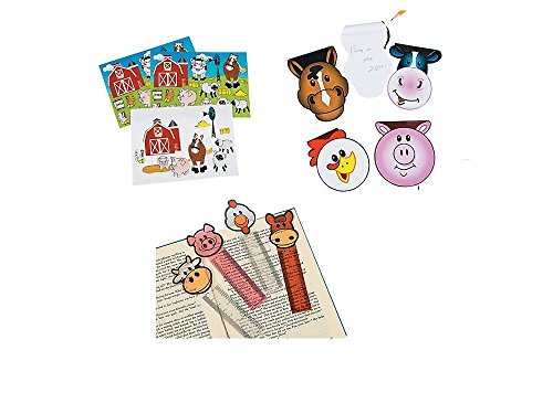 36 FARM ANIMAL - PARTY FAVORS -12 Notepads -12 BOOKMARKS - 12 MAKE a FARM Sticker Sheets PIG COW Horse CHICKEN BARN Classroom Give-aways - TEACHER Incentives Barnyard by Just4fun