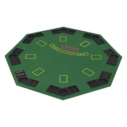 vidaXL Tablero de Poker Plegable 8 Jugadores Octagonal Verde Mesilla Auxiliar