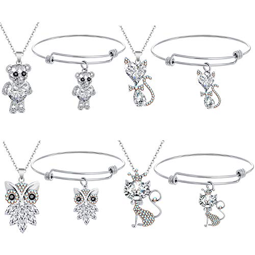 Miraculous Garden Animal Crystals Pendant Stainless Steel Necklace Bracelet Set for Women Girls Kids-Including Cat Owl Bear Fox Jewelry Set for Gift (4 Set)