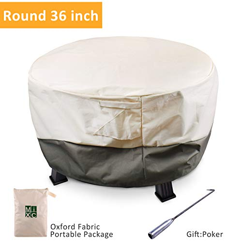 MIXC Waterproof Round Fire Pit Cover 36 inch Heavy Duty Outdoor Furniture Covers Patio Garden Fire Table Cover with Poker, UV and Weather Resistant (Low Fire Pit Cover)