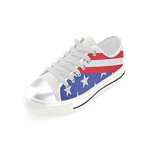 D-story Custom Grunge Usa Flag Zapatillas De Lona Clásicas Para Mujer De Star And Stripes Fashion Sneaker