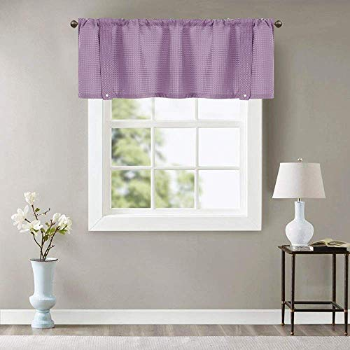 Valance Lilac 18 inch Kitchen Window Curtain Living Room Bedroom Waterproof Bathroom Curtains Valance Panel Sold Individually (Lilac Valance Curtains)