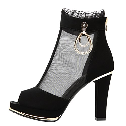 Passionow Women's Peep Toe Lace Mesh Upper High Chunky Heel Ankle Booties