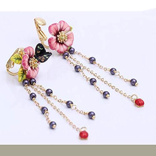 MYYQ. Long Tassel Earring Earrings Earring Earrings Butterfly Stud Flowers Asymmetric Ear-Less Ears ()