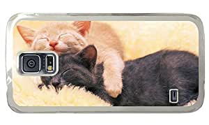 Hipster sparkly Samsung Galaxy S5 Case sleeping kitties PC Transparent for Samsung S5