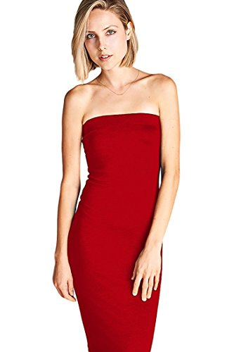 L21 Women's Basic Strapless Bodycon Tube Mini Dress, Red, 2X Plus