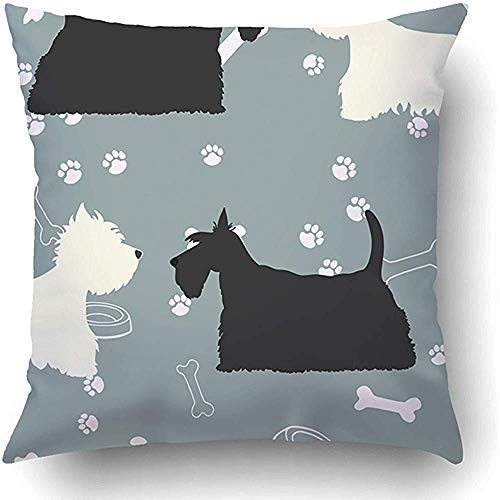 YunnStr0u Throw Pillow Covers Black Terrier Dogs Silhouettes Scottie Westie White Animal Animals Bone Breed Canine Polyester 18 x 18 Inch Square Hidden Zipper Decorative Pillowcase