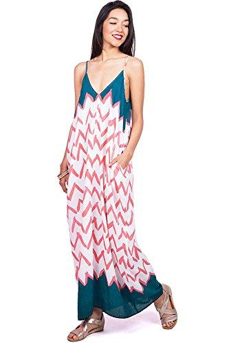 Love Stitch Women's Flowy Light Linen V-Neck Maxi Dress (M/L, (Pink Linen Mix)