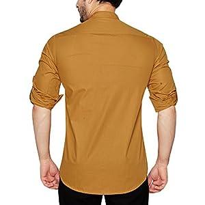 GLOBALRANG Men's Regular Fit Cotton Plain Full Sleeve Shirt (Khaki)
