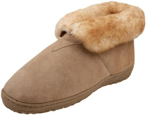 Old Friend Slippers Mens Sheepskin Ankle Bootee 12 EW Chestnut 421207