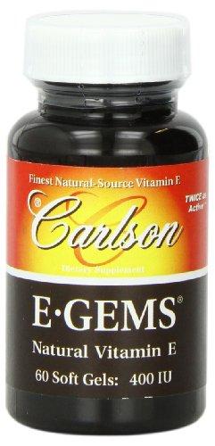 Carlson Labs E-Gems Natural Vitamin E, 400 IU, 60 Softgels For Sale