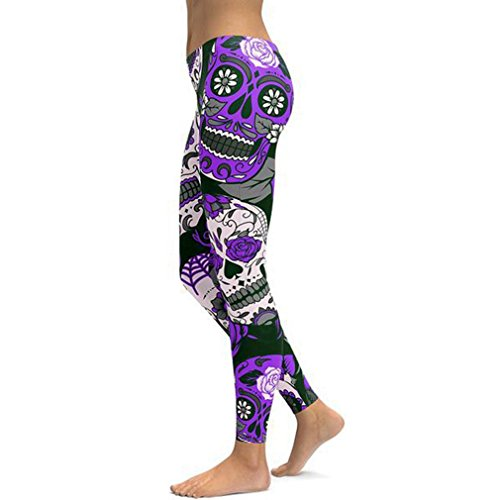 Women's Retro Printed Sugar Skull Pattern Ankle Length Elastic Tights Leggings (X-Large, Purple) (Plus Print Size Tights)