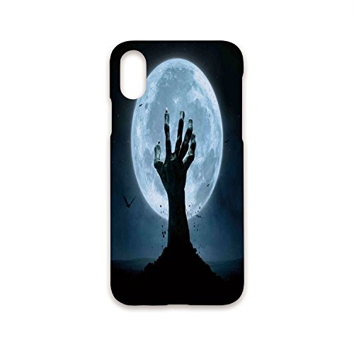 Phone Case Compatible with iPhone X 3D Print Fashion Stylish,Halloween Decorations,Zombie Earth Soil Full Moon Bat Horror Story October Twilight Themed,Blue Black,Customized Phone -