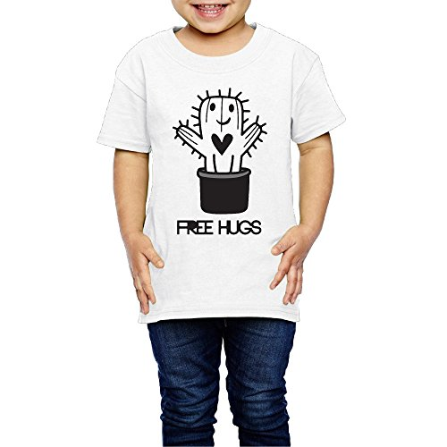 SSEE Kids Boy's & Girl's Free Hugs Cactus Cool Tee Size 5-6 Toddler White (Lil Cactus Girls compare prices)