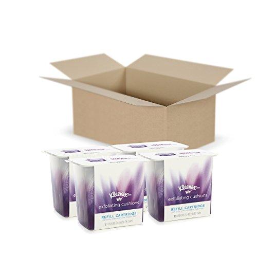 Kimberly Box Clark Refill (Kleenex Exfoliating Facial & Makeup Remover Pads, 4 Refills, 12 Facial Scrubbing Pads Per Pack (48 Face Pads Total))