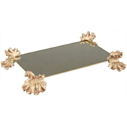 Jay Strongwater Blush Ruffled Tea Mirror Towel Holder Tray Naomi by Jay Strongwater