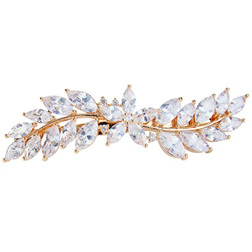 EVER FAITH Women's CZ Marquise-Shaped Hibiscus Flower Leaf Hair Barrette Clip Clear Gold-Tone ()