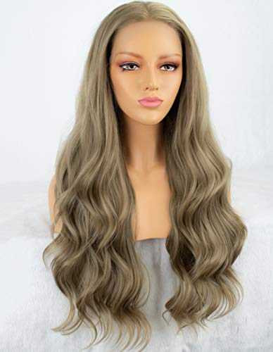 Persephone Ash Blonde Lace Front Wig Glueless Wavy Synthetic Wigs Blonde Long for Women 22 Inches Heat Resistant