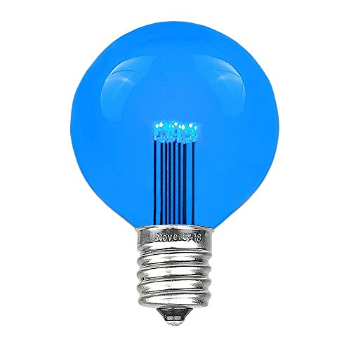 Novelty Lights 5 Pack LED G50 Outdoor Patio Globe Replacement Bulbs, Blue, E17/C9 Base, 1 Watt (Blue C9 Replacement Bulbs)