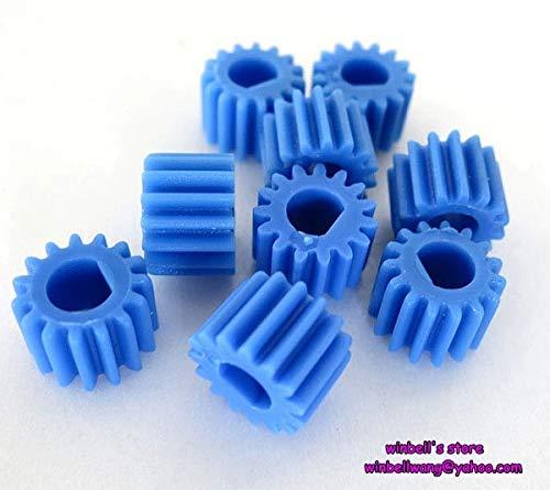 Ochoos 10pcs! Blue Plastic Gear 0.5modulus 15teeth Main Shaft Gear N20 Motor Gear for 3mm D Type Shaft ~
