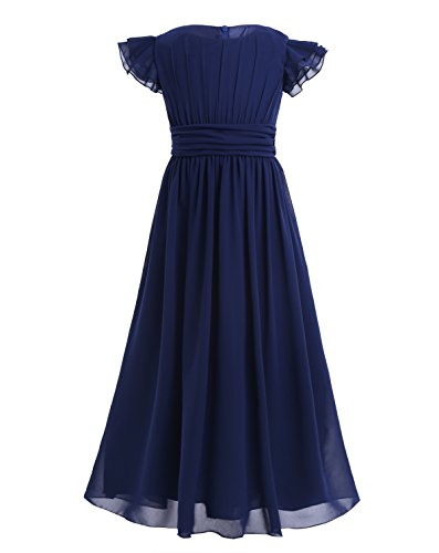 - YiZYiF Girls' Kids' Flutter Sleeves Ruffles Bridesmaid Prom Gown Party Long Flower Girl Dress Navy Blue 12