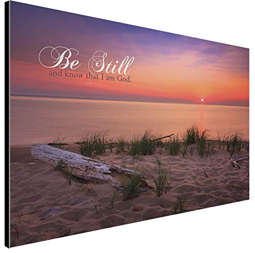 Art Décor - Be Still and Know That I Am God - 18 x 12 Wooden Hanging Sign with Bible Scripture Saying on Mesmerizing Sunset Lake Background    ()
