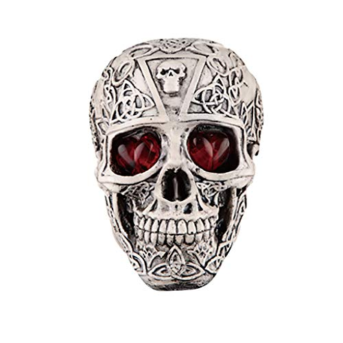 Fan-Ling Halloween Skull Model,Halloween Decorations Resin Wacky Funny Novelty Skull Toys,Fake Skull Party Prop,Halloween Decoration Toy Funny Spoof Light LED Eye Ghost Scary Terror Skull Prop (D)