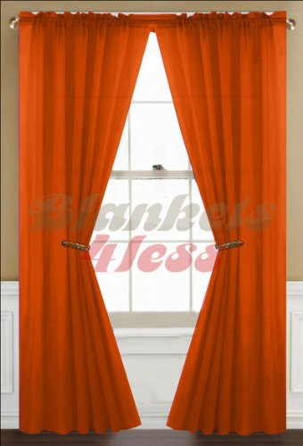 Orange Sheer Curtain 2 Panels Rod Pocket 57″ X 84″