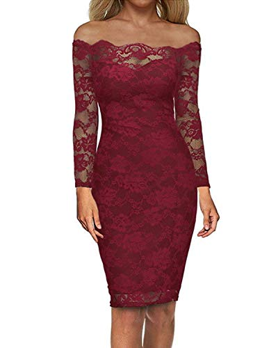 - Auxo Off Shoulder Floral Lace Long Sleeve Midi Cocktail Party Dress Vintage Gowns Swing Prom Dresses Red L