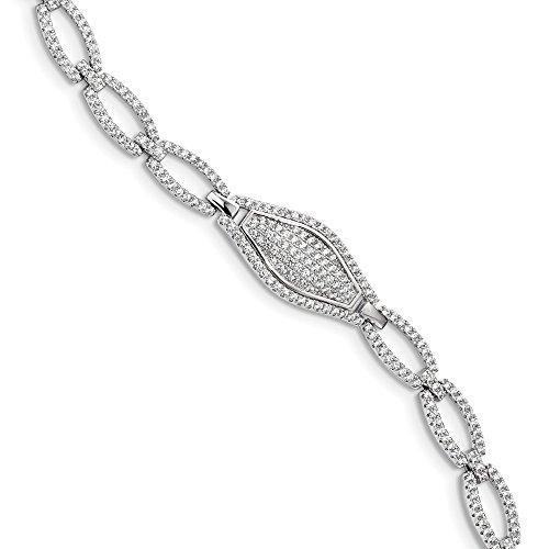 Sterling Silver CZ Brilliant Embers Bracelet Solid 11 mm 7.5 in 7.5 mm CZ Bracelets Bracelets Jewelry