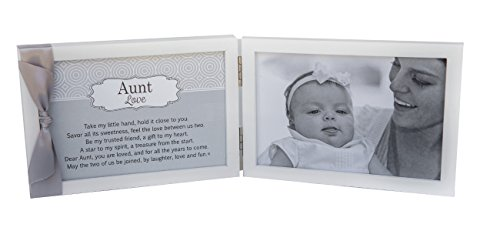 Aunt, You are Loved Poem White Double Hinged 4 x 6 Photo Frame with Ribbon
