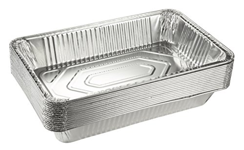 Aluminum Foil Pans - 15-Piece Full-Size Deep Disposable Steam Table Pans for Baking, Roasting, Broiling, Cooking, 20.5 x 3.3 x 13 Inches (Pan Deep Steam)