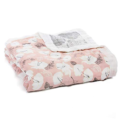 aden + anais Silky Soft Dream Blanket, 100% Cotton Bamboo Muslin, 4 Layer Lightweight and Breathable, 47 X 47 inch, Pretty Petals - Soft Petals