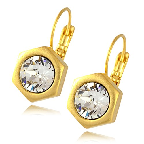 Nara Hexagon Earrings, Gold Plated Honeycomb Bolt on French Leverback Drop with Clear Crystal