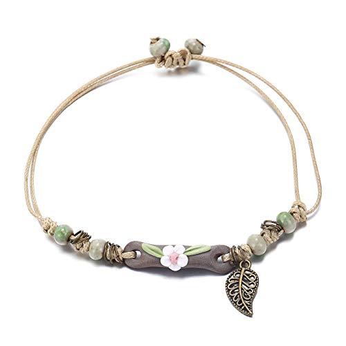 FINETOO Natural Stone Braided Rope Flower Leaf Handmade Bracelet Waterproof Wrap Boho Bead Charm Tassel Bracelet for Women and Girls