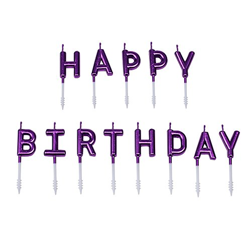 (Willcan Purple Color Happy Birthday Candles Cake Toppers,13 Molded Letter Birthday Candles for Party time Wedding Memories Day Decorating and Celebration Candles Make a Wish)